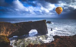 sea, rock, arch, balloon, landscape