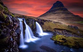 Киркьюфетль, гора в западной части Исландии, находится вблизи города Грюндарфьёрдюр, водопад, пейзаж, закат