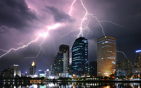 bangkok, Thailand, city, lightning, night
