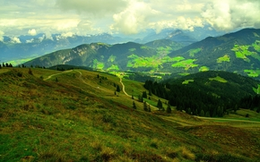 Wildschönau, Austria, campo, Colline, stradale, alberi, paesaggio