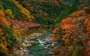 autumn, Arashiyama, Kyoto, Japan, river, Mountains, railroad, trees, landscape