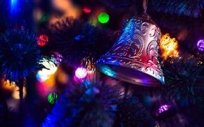 новогодняя ёлка, гирлянды, огни, игрушки, колокольчик