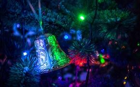 圣诞树, 花环, 灯火, 玩具, 钟