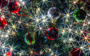 Arbre de Noël, Décorations de Noël, Ballons, lumières