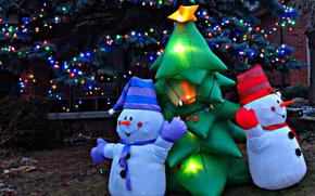 Año Nuevo, Muñecos de nieve, abeto