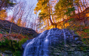 Herbst, Rocks, Bäume, Wasserfall, Landschaft, Tiffany-Fälle, Hamilton, Kanada