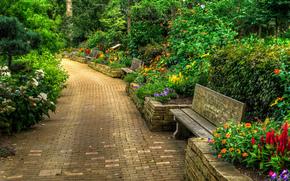 Boanical Gardens, Janesville, Wisconsin, botanical garden, road, shops, flowerbeds, Flowers, bush, landscape