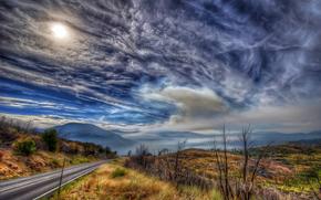carretera, otoño, puesta del sol, cielo, nubes, Montañas, Hills, paisaje