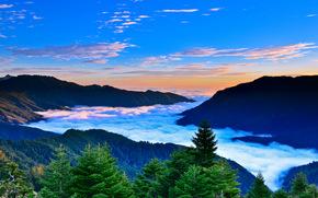 горы, деревья, небо, облака, пейзаж, закат