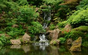 Ogród Japoński, Washington Park, Portland, Oregon, wodospad