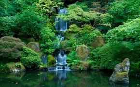 Jardín Japonés, Washington Park, Portland, Oregón, cascada