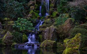日本花园, 华盛顿公园, 波特兰, 俄勒冈州, 瀑布