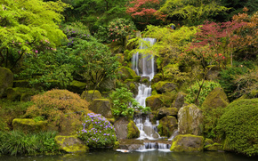 Japanese Garden, Washington Park, Portland, Oregon, водопад
