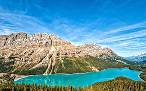 Peyto Lake, Banff, Alberta, Canada, lake, Mountains, trees, landscape