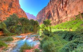 Beaver Falls, Grand Canyon, e AZ, USA, waterfall, Mountains, Rocks, landscape