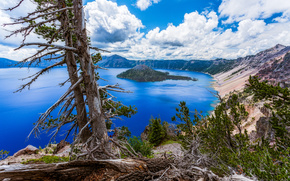 Crater Lake National Park, Oregon, озеро, пейзаж