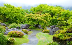 Japanese Garden, сад, парк, деревья, камни, пейзаж