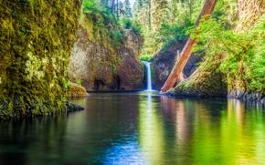 Columbia River Gorge, Oregón, río, cascada, Rocas, paisaje