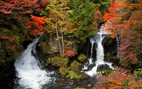 Ryuzu waterfall, Nikko, Japan, осень, пейзаж
