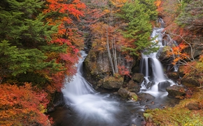 Ryuzu Waterfall, Nikko, japan, autumn, landscape