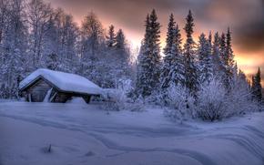 Akaslompolo, Finland, sunset, winter, trees, cabin, landscape
