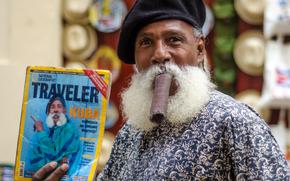 La Havane, Cuba, moujik, cigare, moustache, Magazine