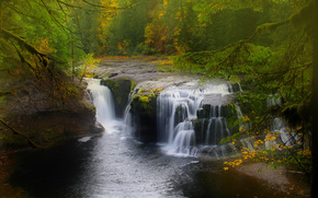 Lower Lewis River Falls, National Forest, Washington State, waterfall, landscape, autumn