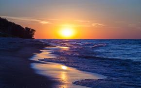 spiaggia, Lago Michigan, tramonto, paesaggio