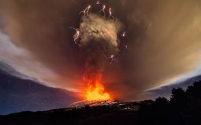 Mount, Etna, eruption, Sicily, Italy