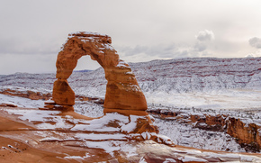 精致拱门, 冬天, 拱门国家公园, 日落, 拱, 景观