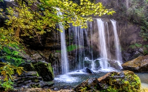 County, SC, waterfall, Rocks, nature
