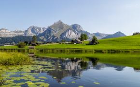 Toggenburger, Suíça, lago, Montanhas, paisagem