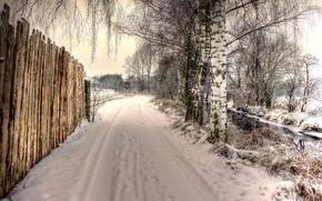 зима, дорога, забор, деревья, берёзы, речка, пейзаж