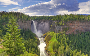 Helmcken Falls, Wells Gray Provincial Park, waterfall, Rocks, trees, landscape