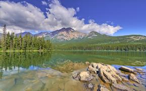 Pyramid Lake, Parco nazionale Jasper, lago, Montagne, paesaggio