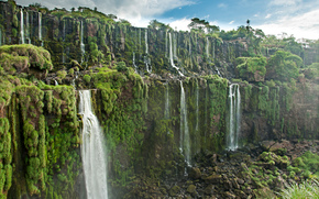 Iguazu Waterfalls, находится на юго-западной границе Бразилии, Аргентины, водопад, пейзаж