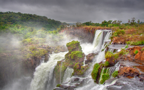 Iguazu Waterfalls, It located in the south-western border of Brazil, Argentina, waterfall, landscape