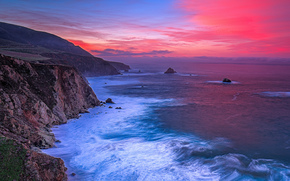 Big Sur at dawn, Central Coast, California, sunset, sea, Rocks, landscape