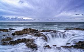 Thor's Well, sunset, Cape Perpetua, Oregon