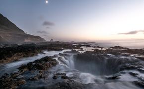 Bene di Thor, tramonto, Cape Perpetua, Oregon