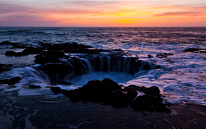 Thors Well, Sonnenuntergang, Cape Perpetua, Oregon