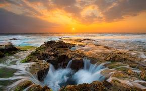 Bueno de Thor, puesta del sol, Cabo Perpetua, Oregón