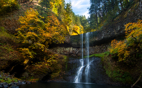 Lower South Falls, Silver Falls, autumn, waterfall, nature