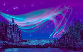 morze, Rocks, latarnia morska, drzew, 3d, sztuka