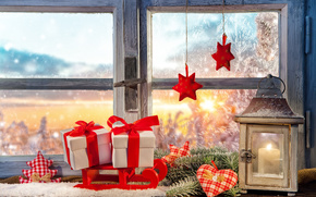 New Year, Christmas, window, decoration, lantern, gifts, ornamentation