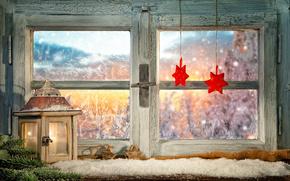 Capodanno, Natale, finestra, decorazione, lanterna, asterisco