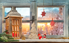 Capodanno, Natale, finestra, decorazione, lanterna, a spina di pesce, asterisco