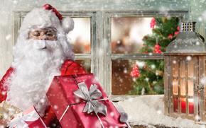 Новый год, Рождество, Санта Клаус, подарок, окно, фонарь