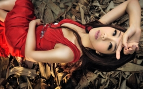 Asian, modello, Red Dress, posa, mano, visualizzare