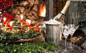 fiesta, Fondos de Navidad, feliz año nuevo